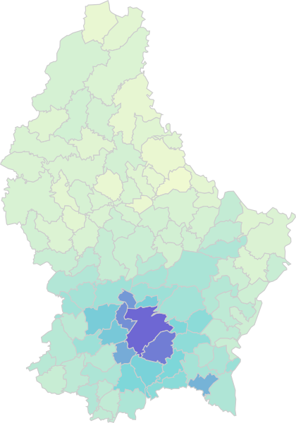 Preferred Regions of Luxembourg Residents by Nationality