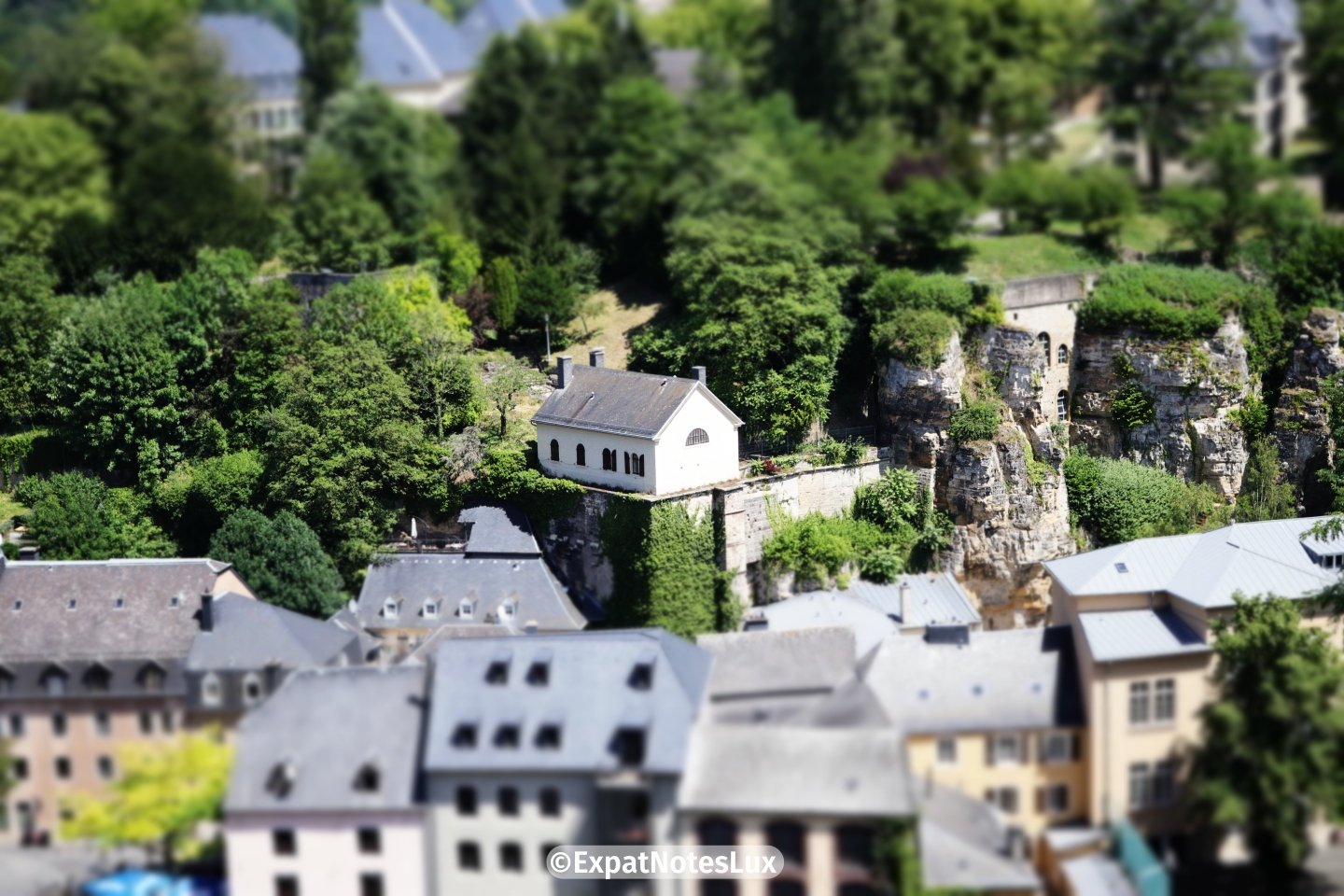 An old house on cliff in Luxembourg grund